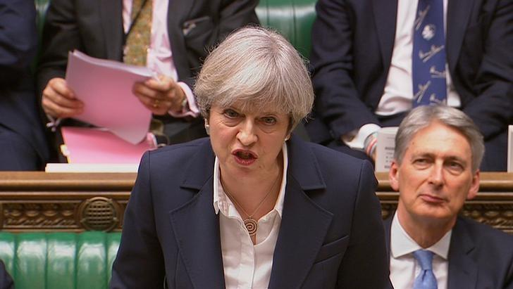 Britain's Prime Minister Theresa May speaks in Parliament as she announces that she has sent the letter to trigger the process of leaving the European Union in London, March 29, 2017. Parliament TV handout via REUTERS