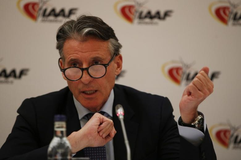 Britain Athletics - IAAF Press Conference - London Marriott Hotel, West India Quay, Canary Wharf - 13/4/17 IAAF President Sebastian Coe during the press conference Action Images via Reuters / Paul Childs Livepic