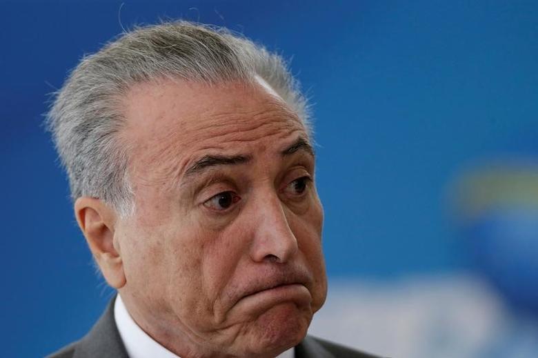 Brazil's President Michel Temer in Brasilia, Brazil April 12, 2017. REUTERS/Ueslei Marcelino