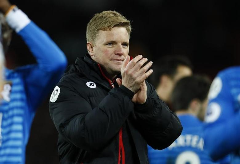 Britain Soccer Football - Liverpool v AFC Bournemouth - Premier League - Anfield - 5/4/17 Bournemouth manager Eddie Howe applauds fans after the match  Action Images via Reuters / Jason Cairnduff Livepic