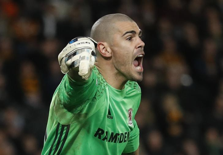 Britain Soccer Football - Hull City v Middlesbrough - Premier League - The Kingston Communications Stadium - 5/4/17 Middlesbrough's Victor Valdes Action Images via Reuters / Carl Recine Livepic