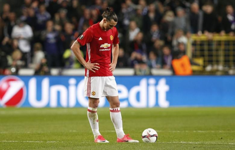 Football Soccer - RSC Anderlecht v Manchester United - UEFA Europa League Quarter Final First Leg - Constant Vanden Stock Stadium, Brussells, Belgium - 13/4/17 Manchester United's Zlatan Ibrahimovic looks dejected  Reuters / Francois Lenoir Livepic