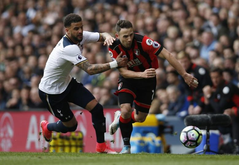 Britain Soccer Football - Tottenham Hotspur v AFC Bournemouth - Premier League - White Hart Lane - 15/4/17 Bournemouth's Marc Pugh in action with Tottenham's Kyle Walker  Action Images via Reuters / Paul Childs Livepic