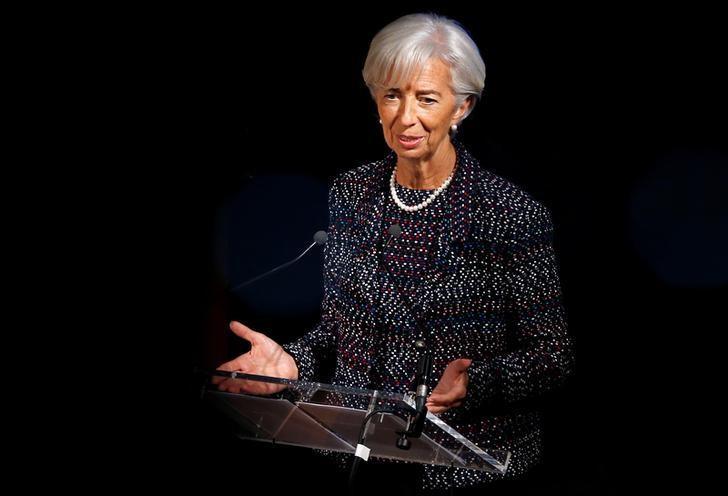 International Monetary Fund (IMF) Managing Director Christine Lagarde delivers a speech at the Solvay Library in Brussels, Belgium April 12, 2017. REUTERS/Francois Lenoir