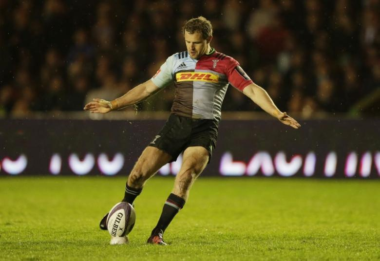 Rugby Union - Harlequins v Grenoble - European Rugby Challenge Cup Semi Final - Twickenham Stoop - 15/16 - 22/4/16Nick Evans of Harlequins kicks at goalAction Images via Reuters / Henry Browne