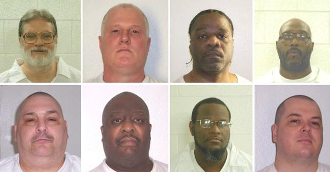 Inmates Bruce Ward(top row L to R), Don Davis, Ledell Lee, Stacy Johnson, Jack Jones (bottom row L to R), Marcel Williams, Kenneth Williams and Jason Mcgehee.   Courtesy Arkansas Department of Corrections