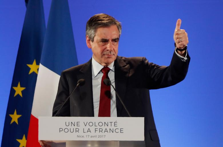 Francois Fillon, former French Prime Minister, member of the Republicans political party and 2017 French presidential election candidate of the French centre-right, reacts as he attends a political campaign rally in Nice, France, April 17, 2017. REUTERS/Eric Gaillard