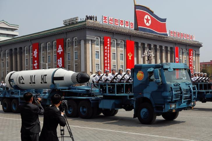 A North Korean navy truck carries the 'Pukkuksong' submarine-launched ballistic missile (SLBM) during a military parade marking the 105th birth anniversary of country's founding father, Kim Il Sung in Pyongyang, April 15, 2017. REUTERS/Damir Sagolj