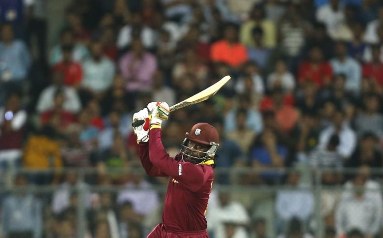 FILE PHOTO - Cricket - West Indies v England - World Twenty20 cricket tournament - Mumbai, India, 16/03/2016. West Indies Chris Gayle plays a shot. REUTERS/Danish Siddiqui