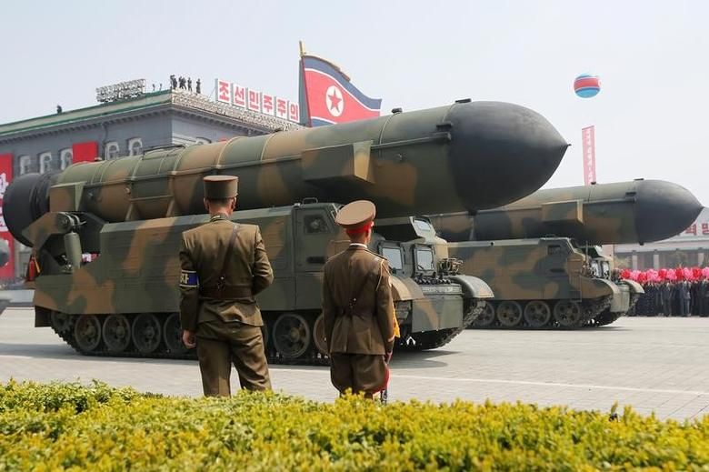 Missiles are driven past the stand with North Korean leader Kim Jong Un and other high ranking officials during a military parade marking the 105th birth anniversary of North Korea's founding father, Kim Il Sung, in Pyongyang, April 15, 2017.     REUTERS/Sue-Lin Wong