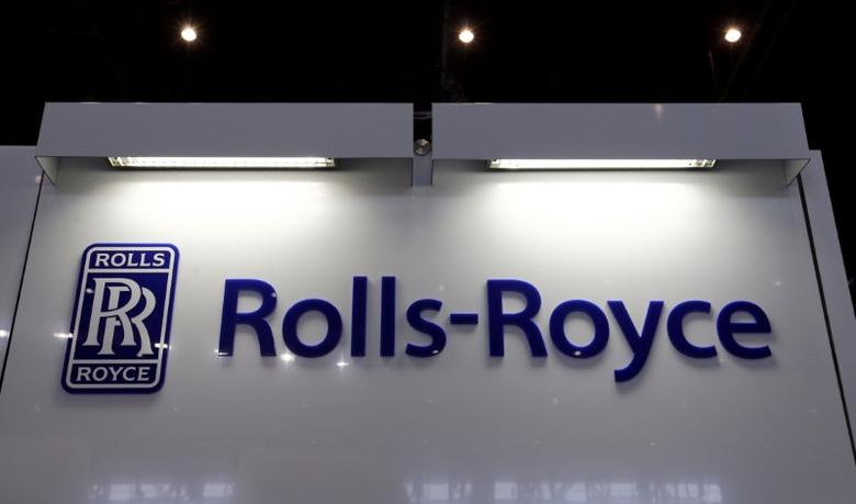 A Rolls-Royce logo is pictured on the company booth during the European Business Aviation Convention & Exhibition (EBACE) at Cointrin airport in Geneva, Switzerland, May 24, 2016.  REUTERS/Denis Balibouse