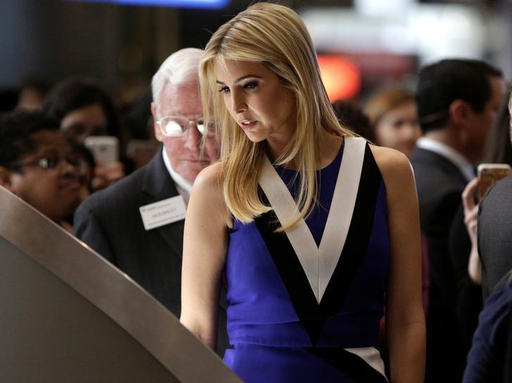 Ivanka Trump touches a piece of moon rock at an exhibit at the Smithsonian's National Air and Space Museum in Washington, U.S., March 28, 2017. REUTERS/Joshua Roberts