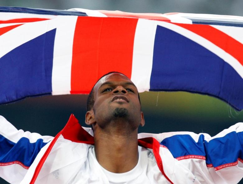 FILE PHOTO: Germaine Mason of Britain celebrates after finishing second in the men's high jump athletics final during the Beijing 2008 Olympic Games at the National Stadium August 19, 2008.     REUTERS/Gary Hershorn/File Photo