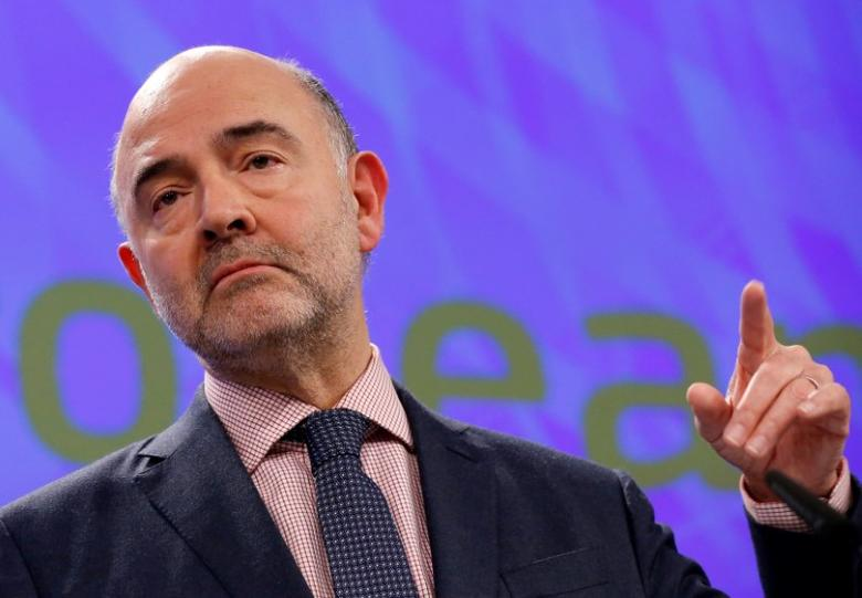 Pierre Moscovici addresses a news conference on the European Semester Winter Package in Brussels, Belgium February 22, 2017. REUTERS/Francois Lenoir