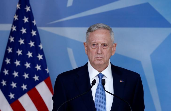 U.S. Defence Secretary Jim Mattis briefs the media during a NATO defence ministers meeting at the Alliance's headquarters in Brussels, Belgium February 15, 2017. REUTERS/Francois Lenoir/Files