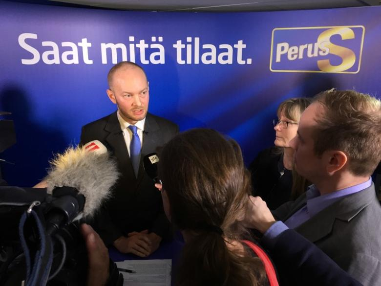 FILE PHOTO: Finland's co-ruling Finns party politician Sampo Terho speaks during a news conference in Helsinki, Finland March 6, 2017. REUTERS/Tuomas Forsell