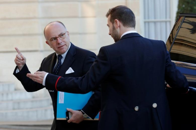 French Prime Minister Bernard Cazeneuve arrives to attend a defence council at the Elysee Palace in Paris, France, April 21, 2017. REUTERS/Philippe Wojazer
