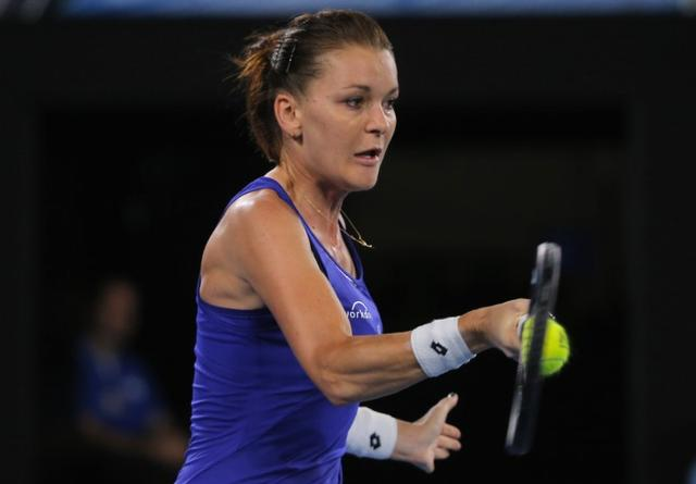 Tennis - Australian Open - Melbourne Park, Melbourne, Australia - 17/1/17 Poland's Agnieszka Radwanska hits a shot during her Women's singles first round match against Bulgaria's Tsvetana Pironkova. REUTERS/Jason Reed