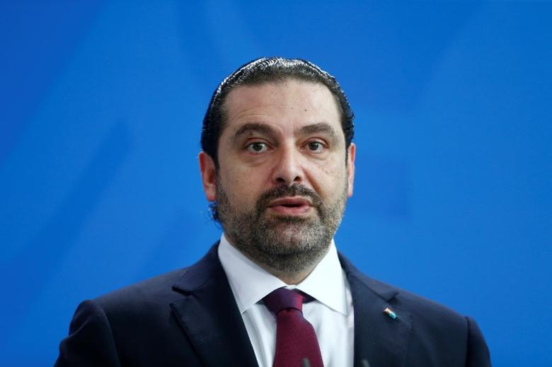 Lebanese Prime Minister Saad al-Hariri during news conference with German Chancellor Angela Merkel at the Chancellery in Berlin, Germany, April 4, 2017.    REUTERS/Hannibal Hanschke