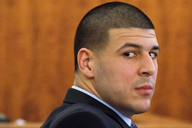 Aaron Hernandez looks at the gallery during his murder trial  in Fall River, Massachusetts.  REUTERS/Dominick Reuter