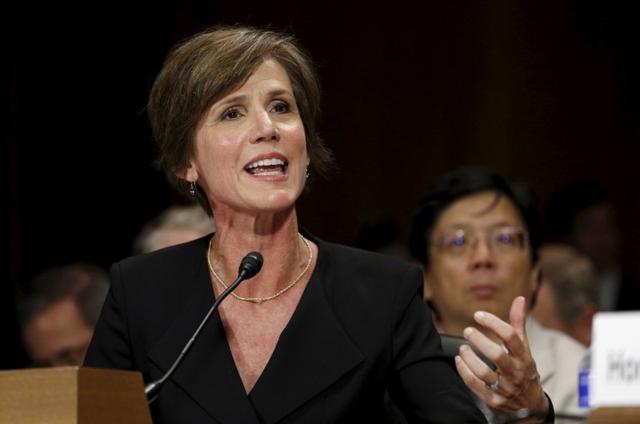 Sally Yates testifies during a Senate Judiciary Committee hearing in Washington, July 2015. REUTERS/Kevin Lamarque