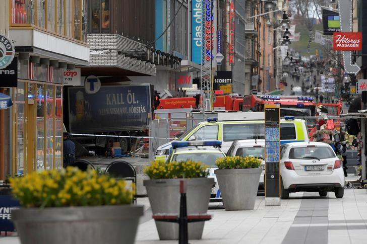 FILE PHOTO - People were killed when a truck crashed into department store Ahlens on Drottninggatan, in central Stockholm, Sweden April 7, 2017. TT News Agency/Anders Wiklund/via REUTERS/File Photo
