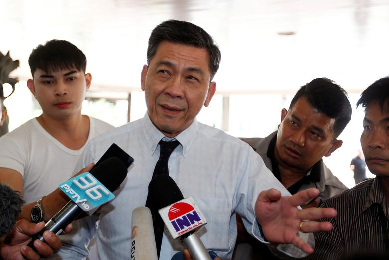 Director General of the Prosecution office of the Bangkok South Criminal Court, Suthi Kittisuppaporn speaks to members of media as he arrives at the South Bangkok prosecutor's office in Bangkok, Thailand, April 27, 2017.  REUTERS/Chaiwat Subprasom