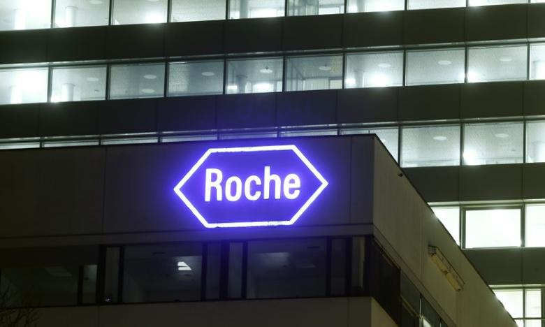 Swiss drugmaker Roche's logo is seen at their headquarters in Basel, Switzerland January 28, 2016. REUTERS/Arnd Wiegmann