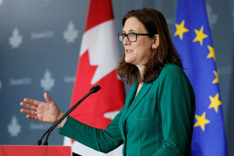 European Union Trade Commissioner Cecilia Malmstrom delivers a speech during an event hosted by Canada 2020 in Ottawa, Ontario, Canada, March 21, 2017. REUTERS/Chris Wattie
