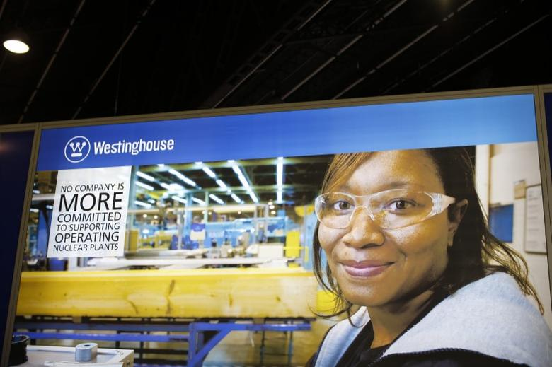 The logo of the American company Westinghouse is pictured at the World Nuclear Exhibition 2014, the trade fair event for the global nuclear energy sector, in Le Bourget, near Paris October 14, 2014. REUTERS/Benoit Tessier