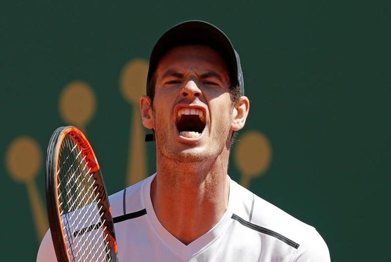 FILE PHOTO: Tennis - Monte Carlo Masters - Monaco, 20/04/2017.  Andy Murray of Britain reacts during his match against Albert Ramos-Vinolas of Spain.   REUTERS/Eric Gaillard