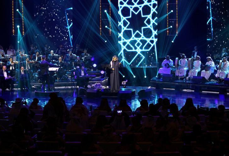 Saudi Arabian singer Rashed Al-Majed peforms during a concert in Riyadh, Saudi Arabia, March 9, 2017. REUTERS/Faisal Al Nasser/File Photo