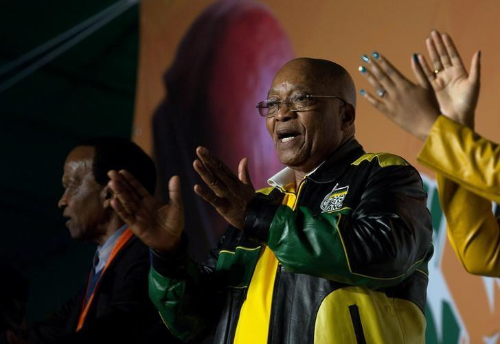 President Jacob Zuma addresses crowds gathered to celebrate his 75th birthday in Kliptown, Johannesburg, South Africa, April 12, 2017. REUTERS/James Oatway/Files