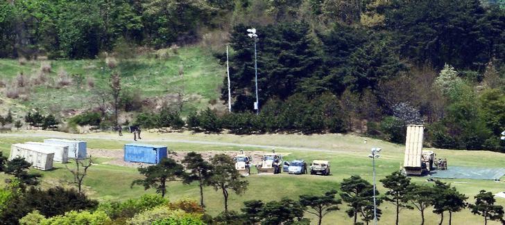 A Terminal High Altitude Area Defense (THAAD) interceptor (R) is seen in Seongju, South Korea, April 26, 2017. Picture taken April 26, 2017. Lee Jong-hyeon/News1 via REUTERS