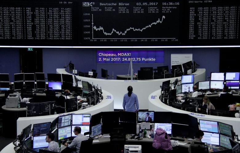 Traders work in front of the German share price index, DAX board, at the stock exchange in Frankfurt, Germany, May 3, 2017. REUTERS/Staff/Remote