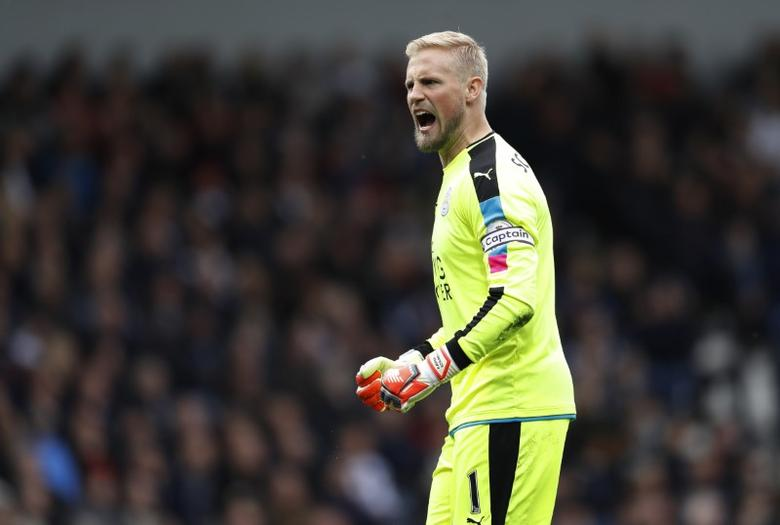 Britain Football Soccer - West Bromwich Albion v Leicester City - Premier League - The Hawthorns - 29/4/17 Leicester City's Kasper Schmeichel celebrates after Jamie Vardy scores their first goal  Reuters / Darren Staples Livepic