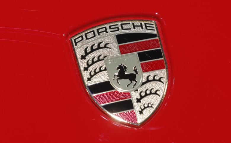 FILE PHOTO: A Porsche logo is seen at the 2017 New York International Auto Show in New York City, U.S. April 13, 2017. REUTERS/Lucas Jackson