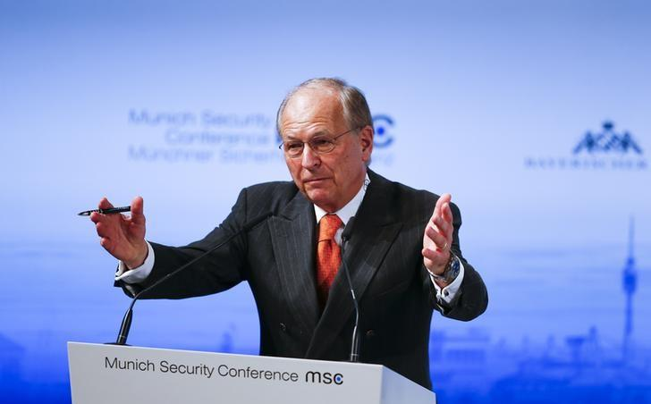 The chairman of the Conference on Security Policy Wolfgang Ischinger addresses the Munich Security Conference in Munich, Germany, February 12, 2016. REUTERS/Michael Dalder