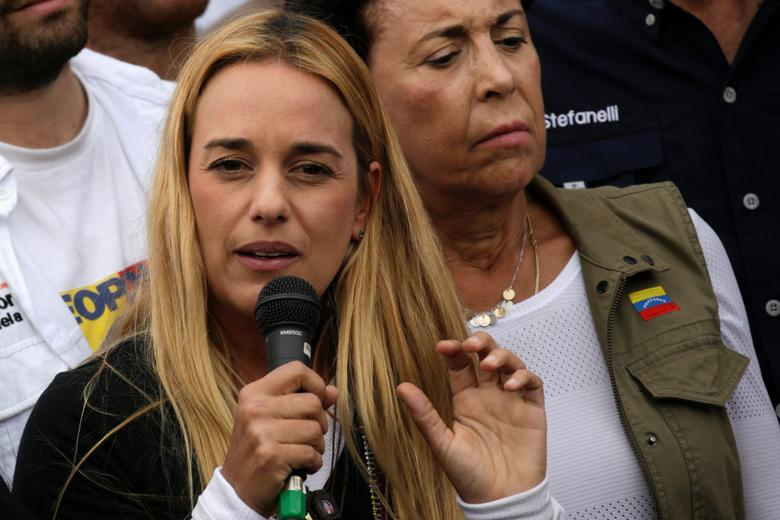 Lilian Tintori, wife of jailed Venezuelan opposition leader Leopoldo Lopez, speaks during a rally in support of political prisoners and against Venezuelan President Nicolas Maduro, outside the military prison of Ramo Verde, in Los Teques, Venezuela April 28, 2017. REUTERS/Marco Bello