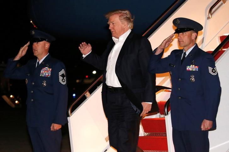 U.S. President Donald Trump returns from a weekend at his New Jersey golf estate home via Air Force One at Joint Base Andrews, Maryland, U.S. May 7, 2017. REUTERS/Jonathan Ernst
