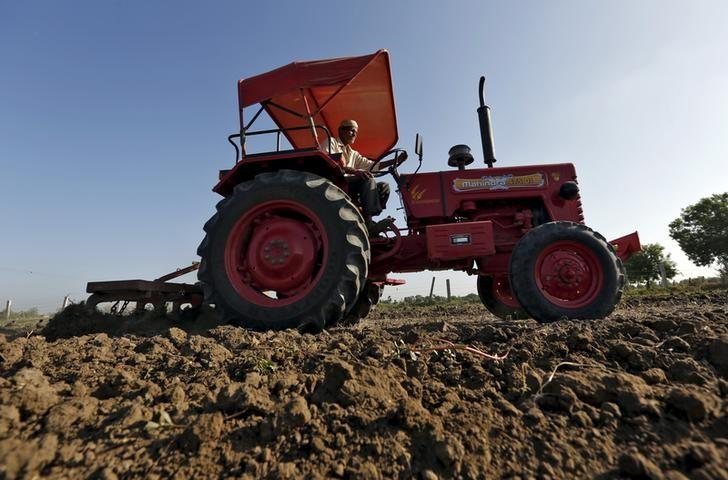 A farmer uses a tractor to plough his field before sowing rice seeds on the outskirts of Ahmedabad, India, in this June 10, 2015 picture. REUTERS/Amit Dave/Files