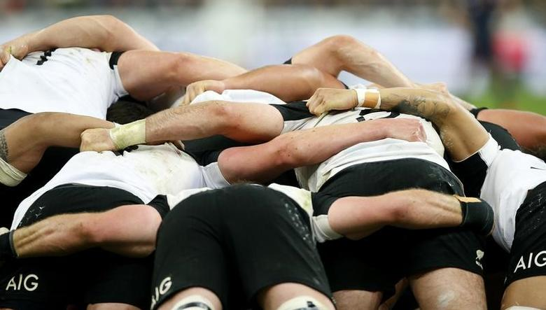 FILE PHOTO: France Rugby - France v New Zealand All Blacks - Stade de France, Saint-Denis near Paris, France, 26/11/2016. New Zealand players during the match.   REUTERS/Gonzalo Fuentes