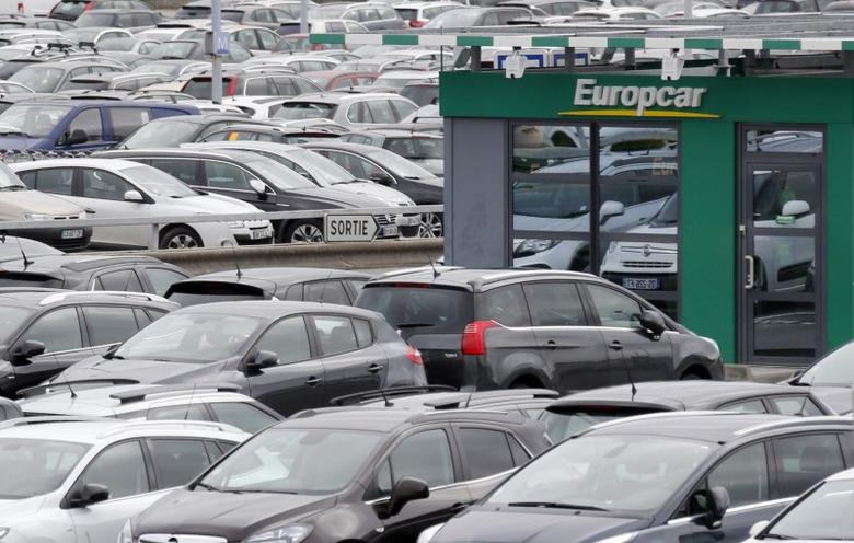 FILE PHOTO: A logo of French car rental company Europcar is seen at Bordeaux Airport in Merignac, Southwestern France, February 4, 2016.  REUTERS/Regis Duvignau
