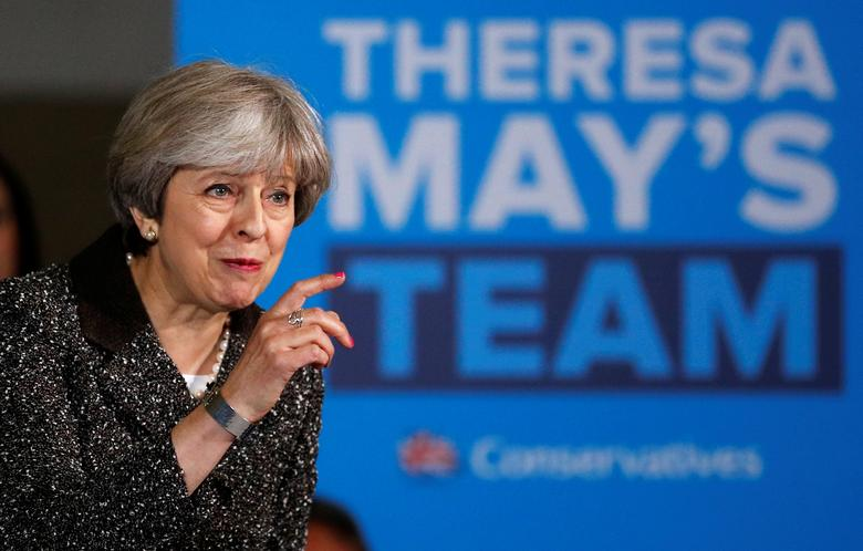 Britain's Prime Minister Theresa May attends a campaign event in York, May 9, 2017. REUTERS/Phil Noble