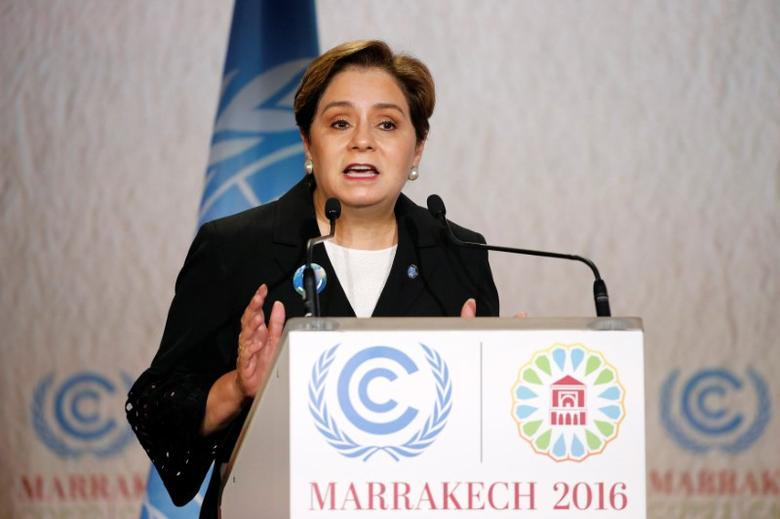 Executive Secretary of the UN Framework Convention on Climate Change Patricia Espinosa speaks during the opening of the UN Climate Change Conference 2016 (COP22) in Marrakech, Morocco, November 7, 2016. REUTERS/Youssef Boudlal/Files