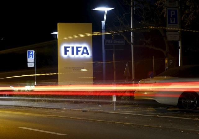 FILE PHOTO: The FIFA logo is seen outside their headquarters in Zurich October 7, 2015. REUTERS/Arnd Wiegmann  Picture Supplied by Action Images