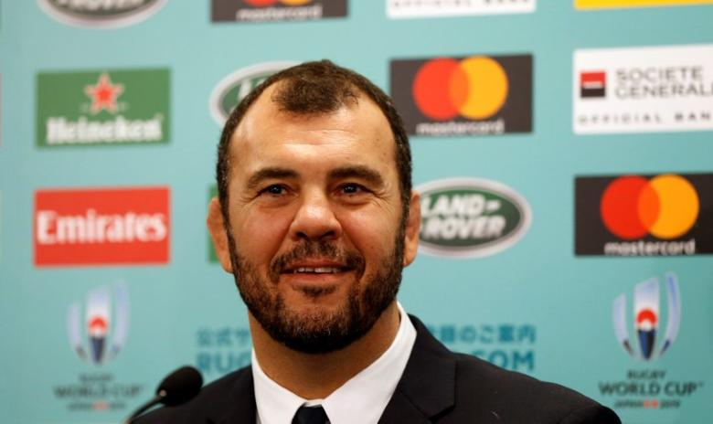 Australia head coach Michael Cheika attends a news conference after the Rugby World Cup 2019 pool draw at Kyoto State Guest House in Kyoto, Japan May 10, 2017. REUTERS/Issei Kato