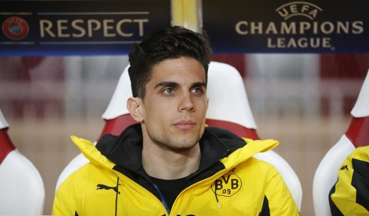 Football Soccer - AS Monaco v Borussia Dortmund - UEFA Champions League Quarter Final Second Leg - Stade Louis II, Monaco - 19/4/17 Borussia Dortmund's Marc Bartra sat on the substitutes bench before the match  Reuters / Jean-Paul Pelissier Livepic/Files