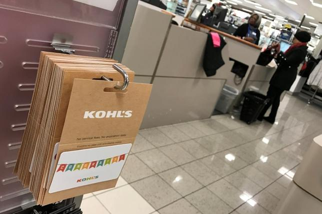 FILE PHOTO: A Kohl's gift card is seen inside a Kohl's department store in the Queens borough of New York, U.S., January 5, 2017. REUTERS/Shannon Stapleton/File Photo