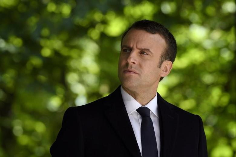 French President elect Emmanuel Macron attends a ceremony to mark the anniversary of the abolition of slavery and to pay tribute to the victims of the slave trade at the Jardins du Luxembourg in Paris, France,  May 10, 2017. REUTERS/Eric Feferberg/Pool